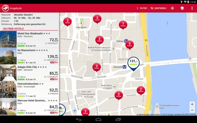 Mit Hilfe der GPS-Funktion kannst du schnell ein passendes Hotel in deiner Nähe finden.