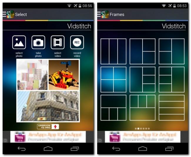 Die App Vidstitch kombiniert schnell und unkompliziert mehrere Fotos und Videos zu einer Collage.