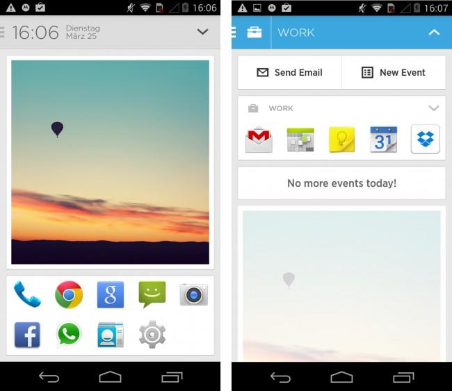 Der Homescreen bietet Platz für 10 Apps und maximal 2 Widgets. Über einen Wisch nach unten kann ein weiteres Menü mit nützlichen Apps und Informationen ausgeklappt werden.