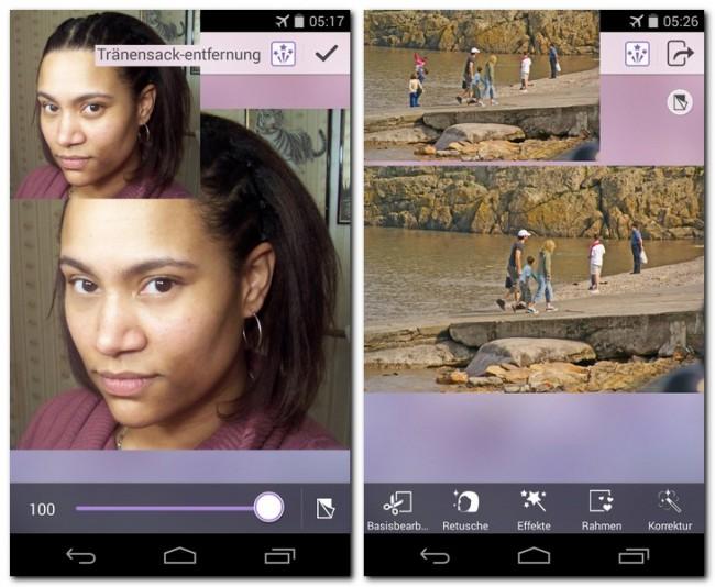 Auch um Tränensäcke kümmert sich die Software. Und die Korrektur-Funktion der App erlaubt es dir sogar, unerwünschte Menschen oder Gegenstände aus Fotos zu entfernen.