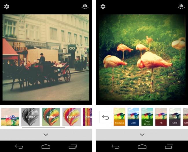 Die App Retrica stellt dir 54 gute Farbfilter zur Auswahl, mit deren Hilfe du Fotos künstlich altern lassen kannst. 25 weitere Filter erhältst du, wenn du auf die kostenpflichtige Pro-Version umsteigst.