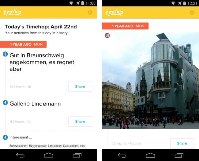 Die App Timehop zeigt dir die Einträge und Fotos, die du vor einem Jahr (und vor zwei, drei und vier Jahren) in den diversen sozialen Netzen geschrieben oder hochgeladen hast.