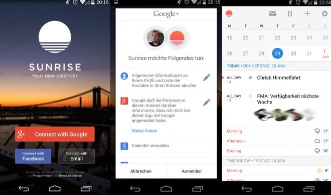 Sehr schick: Der Sunrise-Kalender kann mit einem sehr ansehnlichen Äußeren punkten. (Bild: Androidmag.de)