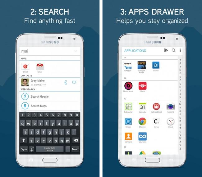 Auch eine Suche sowie ein App-Drawer sind integriert.