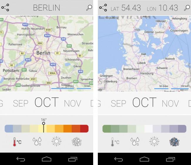 Das bietet die App Climatology von Microsoft: Temperatur, Niederschlag, Sonnenschein und Luftfeuchtigkeit – und das für jeden Ort unseres Planeten.
