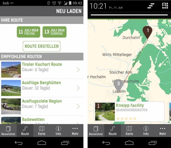 Du kannst mit Hilfe der App eigene Routen planen oder dir einfach welche empfehlen lassen.