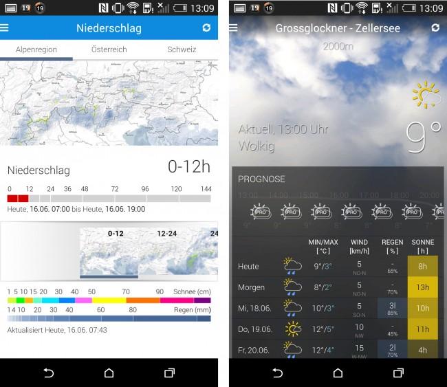 Du kannst dir sowohl die Niederschlagskarte für unterschiedliche Regionen ansehen, als auch genaue Details zu den diversen Orten.