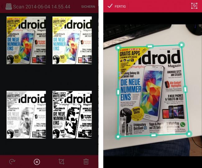 Die verschiedenen Filter sind auf dem linken Bild zu sehen. Rechts hingegen wird das Freistellen einer Datei angezeigt.