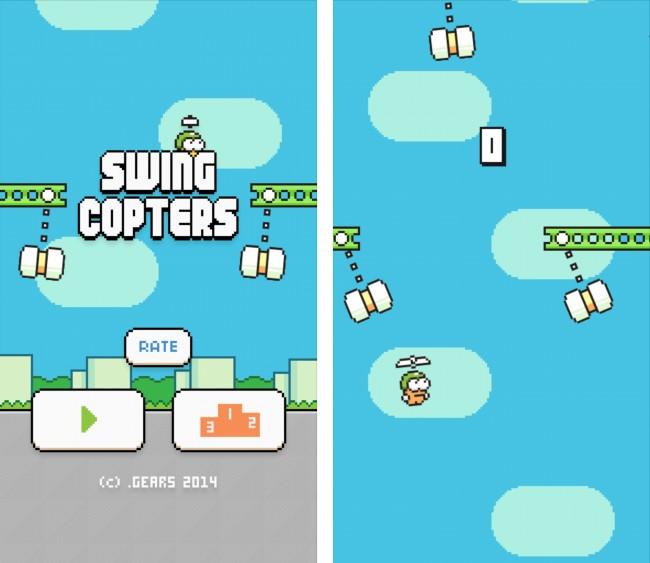 """Der Startbildschirm sowie das Spielprinzip von """"Swing Copters"""" ähneln sehr seinem Vorgänger """"Flappy Bird."""""""