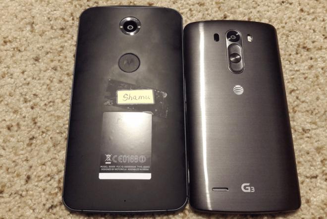 Das LG G3, nicht gerade als Zwerg bekannt, wirkt im Vergleich mit dem angeblichen Nexus X/Nexus 6 geradezu winzig.