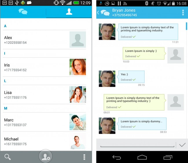 Squre-Messenger führt ein eigenes Telefonbuch für verschlüsselte Kontakte. Die Kommunikation selbst funktioniert wie in der regulären SMS-App.