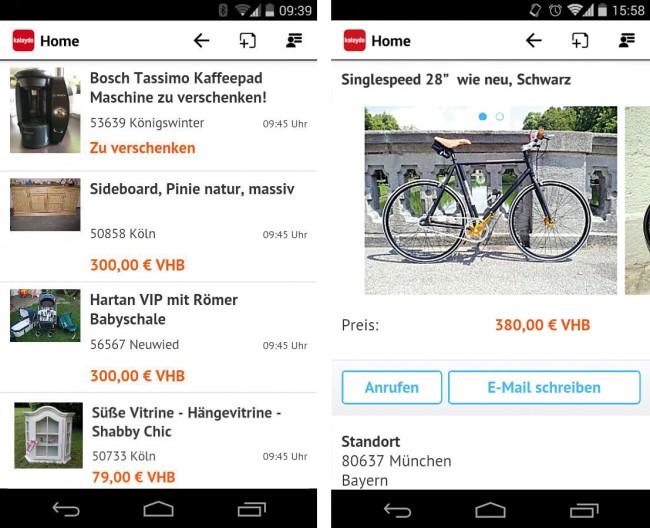 Bei über einer Million Anzeigen ist für jeden ein passendes Schnäppchen dabei. Den Anbieter können Sie mit einem Tipp in der App kontaktieren.