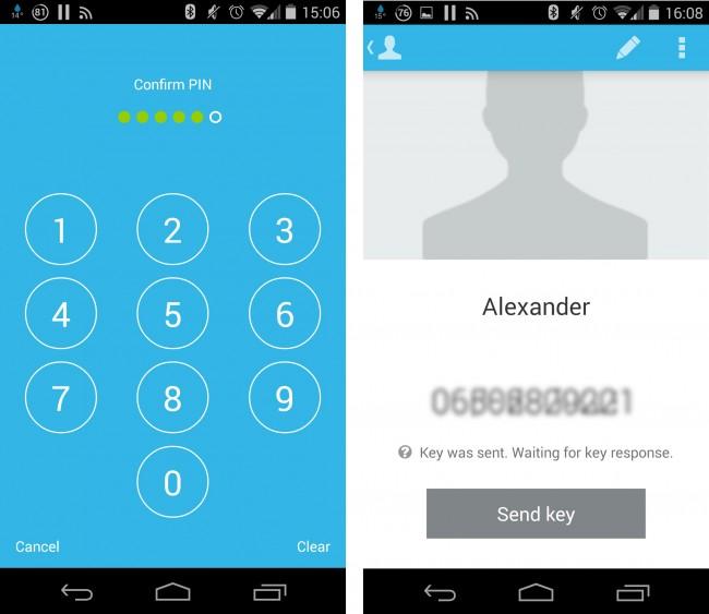 Der PIN-Code wird beim Starten der App eingegeben. Mit jedem Kontakt müssen Sie einmalig Schlüssel austauschen.