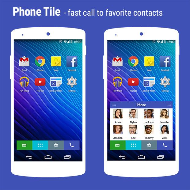 Das Telefon-Tile verbirgt die wichtigsten Kontakte (Foto: Kickstarter)