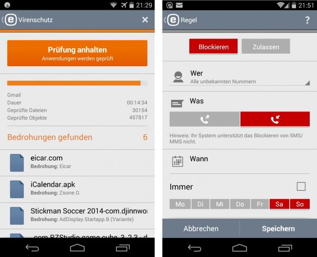 """Die App """"ESET Mobile Security & Antivirus"""" untersucht den Speicher Ihres Smartphones nach bösartiger Software."""