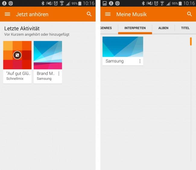 Die neue Google Play Musik-App erstrahlt jetzt auch im Look von Material Design.