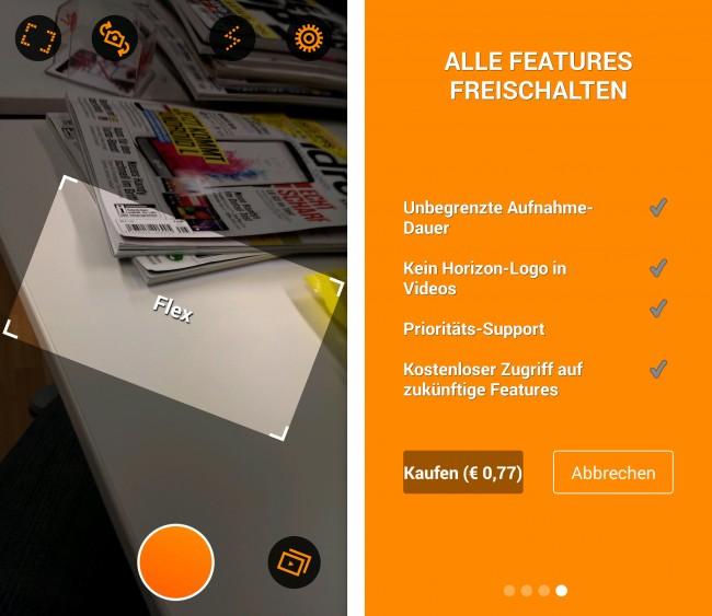 Neben den Modi kannst du auch noch zwischen den Kameras wechseln oder den Blitz ein- und ausschalten. Die Pro-Version der App kostet übrigens 77 Cent.