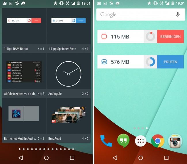 Zusätzlich zur eigentlich App sind zwei Homescreen-Widgets inkludiert. Mit diesen lässt sich der verbrauchte Arbeitsspeicher und potentiell freizuschaufelnde Speicherplatz immer im Blick behalten.