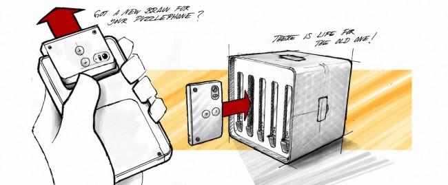 In den Rechnerverbund Puzzlecluster lassen sich mehrere ausgediente Prozessor- und Akku-Module von Puzzlephones einsetzen. (Foto: Circular Devices Oy)