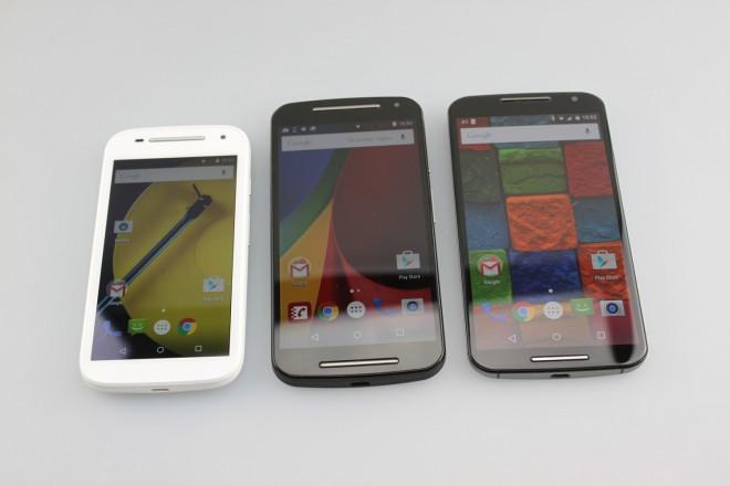 Von link nach rechts: Moto E (2. Gen), Moto G (2. Gen), Moto X (2. Gen)