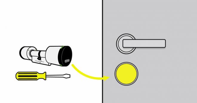 An den Eingangstüren werden die mechanischen Schließzylinder gegen die AirKey-Zylinder ausgetauscht. Schlosskästen und Beschläge sind üblicherweise genormt, gewöhnlich reicht dafür also ein Schraubenzieher und die Hand eines/einer mittel begabten Heimwerker/in.