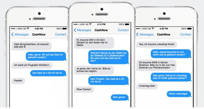 Per SMS sollen sich Nutzer von BringCashNow jederzeit Bargeld liefern lassen (Foto: BringCashNow/Railslove GmbH)