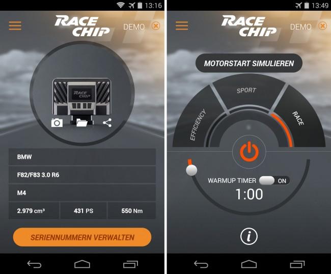 Über eine App kannst du die Optimierung der Motorleistung von deinem Smartphone aus kontrollieren. Die App ist für die Betriebssysteme Android und iOS verfügbar.