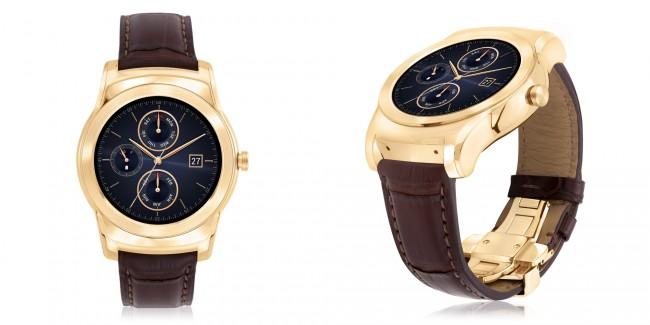 """Das Gehäuse der noblen Smartwatch """"LG Watch Urbane Luxe"""" ist vergoldet. Das Armband besteht aus Alligatorleder. (Foto: LG Electronics)"""