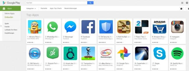 Gut gefüllter Play Store: Die allermeisten wichtigen Apps sind inzwischen sowohl für iOS als auch für Android erhältlich.