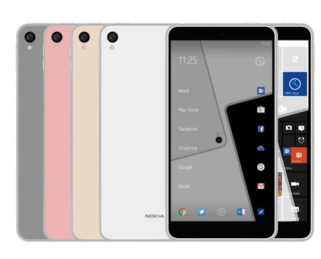 """Die kürzlich aufgetauchten Render-Bilder des """"Nokia C1"""" lassen vermuten, dass das Comeback-Smartphone von Nokia in zwei Varianten auf den Markt kommen wird: mit Android und mit Windows 10. (Foto: Nokiapoweruser)"""