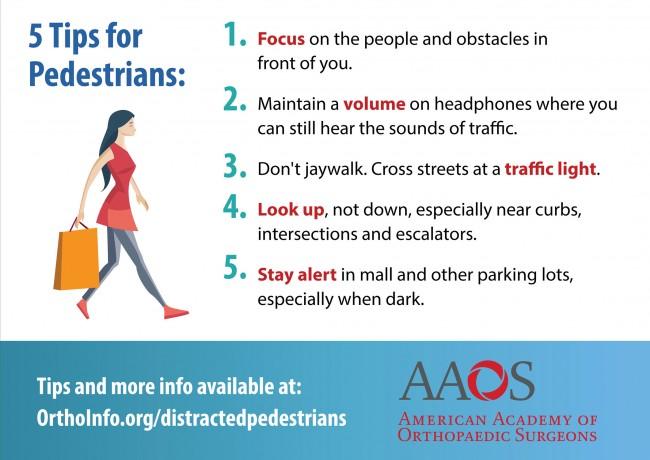 Die  American Academy of Orthopaedic Surgeon gibt hilfreiche Tipps für Fußgänger, die nicht in der Notaufnahme landen möchten. (Grafik: American Academy of Orthopaedic Surgeon)