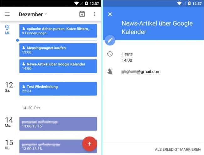"""Die App """"Google Kalender"""" kann nun endlich auch Aufgaben verwalten. Die Erinnerungen an die Aufgaben bleiben so lange im Kalender sichtbar, bis du sie als erledigt abhakst."""