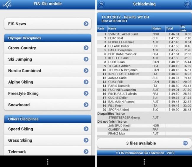 Die App Fis-ski mobile-Liveergebnisse ist die offizielle Web-App des FIS (International Ski Federation).
