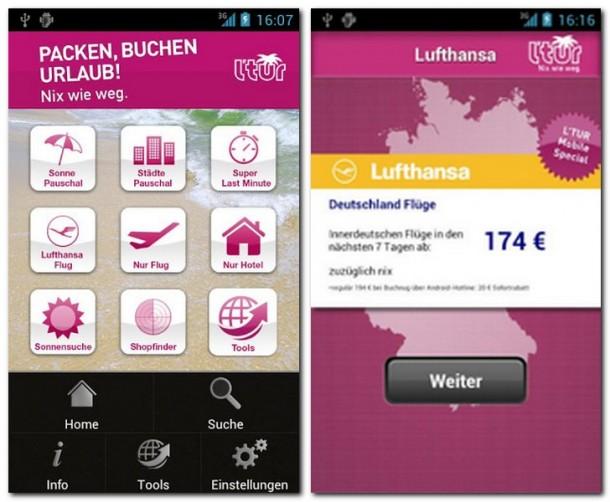Egal, ob eine Pauschalreise oder einfach nur ein Flug gebucht werden soll: L'TUR eröffnet Smartphone-Nutzern alle Möglichkeiten, dies mobil von jedem beliebigen Ort aus zu tun.