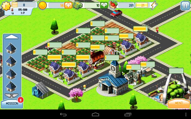 Im Unterschied zu Cityville ist in dieser App die soziale Komponente nicht enthalten, sprich deine Freunde können sich nicht etwa deine Stadt ansehen, die Felder ernten oder die Miete einsammeln.