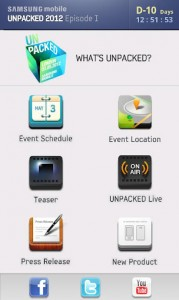 Samsung Mobile Unpacked App.
