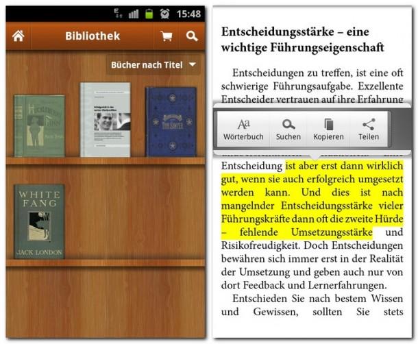 In der Bücherregalansicht sieht man alle runtergeladenen Bücher. Texte können markiert und dann geteilt werden.