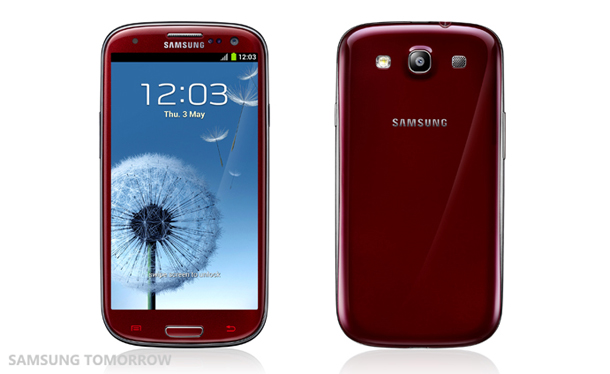 Das Samsung Galaxy S 3 in der roten Farbversion. Foto: Samsungtomorrow.