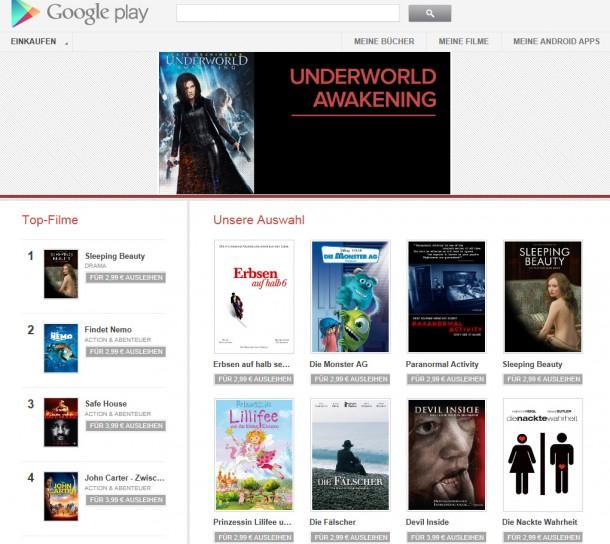 Ab sofort können auch in Deutschland Filme über Google Play ausgeliehen werden.