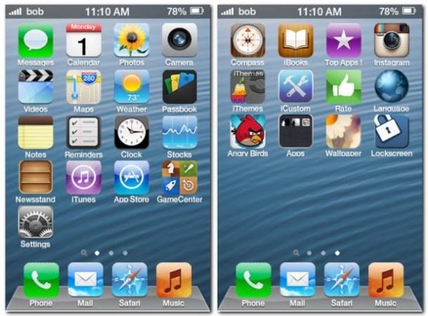 Die mobile Anwendung iPhone 5 Bildschirm verwandelt die Oberfläche deines Android Smartphones in die iOS Oberfläche, zumindest optisch.