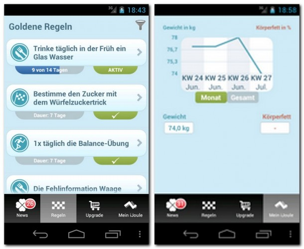 Die App iJoule erinnert Sie an Regeln, die Ihr Ernährungs- und Bewegungsverhalten verbessern