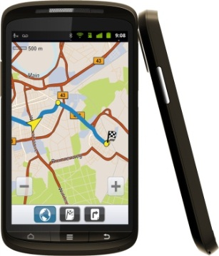 Das Medion Smartphone mit umfangreicher Navi-App; Foto: Medion