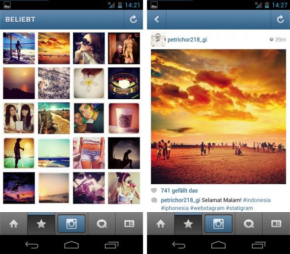 Die Anwendung Instagramm erlaubt einfaches Bearbeiten von Fotos mit Effekten und das anschließende Teilen der Fotos auf Facebook.