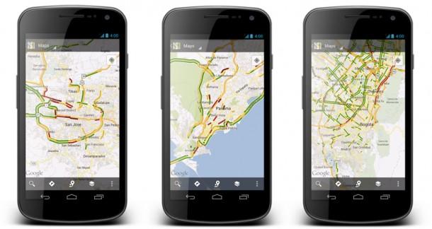 Mittels Echtzeitverkehrsdaten in Google Maps kann man als Nutzer Staus uns Verzögerungen auf dem Weg zur Arbeit vermeiden. Foto: Gogole.