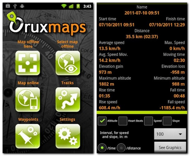 Der Umfang von OruxMaps ist derart gewaltig für eine kostenlose App. Sehr empfehlenswert.