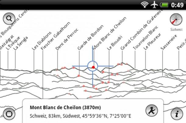 Die App PeakFinder Alps verrät Ihnen die Namen der Berge in Ihrer Umgebung.