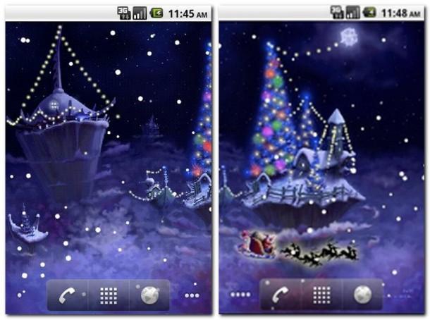 Bei Antippen des Live-Wallpapers ertönt einer von zwei Jingles, der beim erneuten Antippen jederzeit wieder verstummt. Neben tänzelnden Lichterketten besucht euch euch noch Santa und bewirft euch mit den tollsten Geschenken.