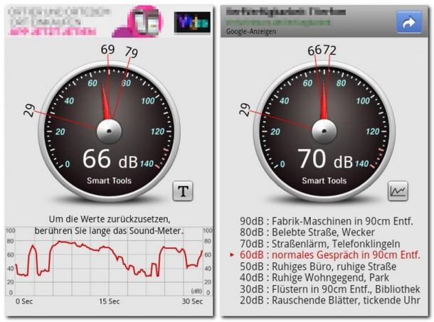 Das Programm 'Sound Meter' misst die Lautstärke der Geräusche in deiner Umgebung.