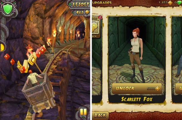 Neu sind unter anderem Minen-Abschnitte, in denen ihr eure Lore durch Neigen eures Android-Gerätes steuern könnt. Auch weitere Charaktere, wie die aus Teil eins bekannte Scarlett Fox, lassen sich freischalten.