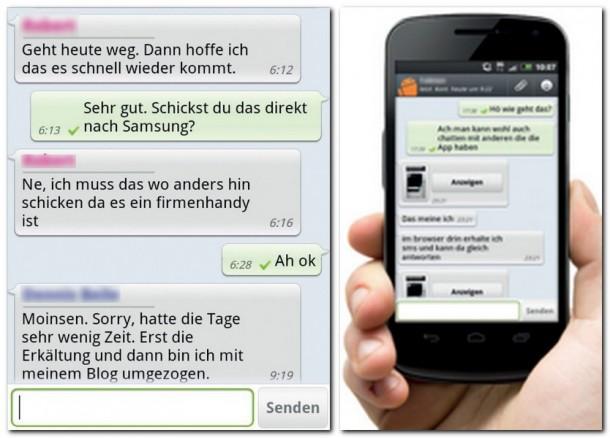 Hier die Nachrichtenübersicht und der chronologische Gesprächsverlauf von Whats App Messenger.